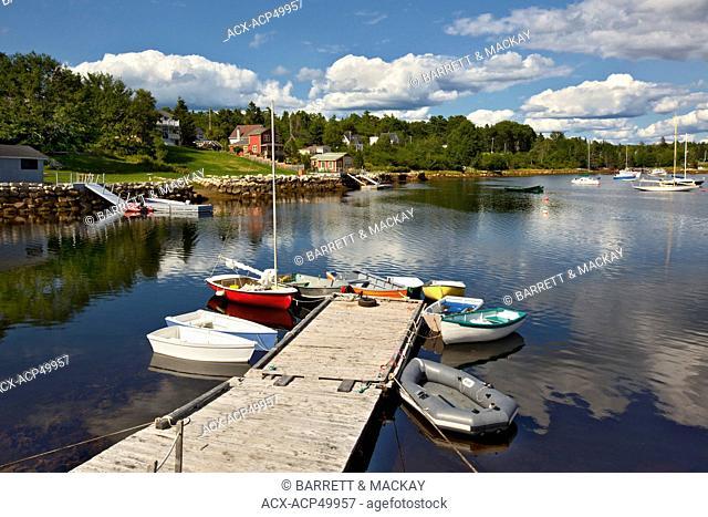 Small boats tied up at dock, Hubbards, Nova Scotia, Canada