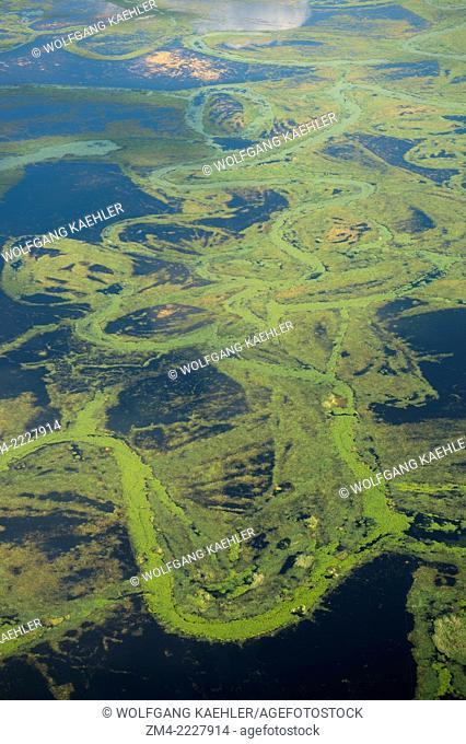 Aerial view of the Okavango Delta in northern part of Botswana