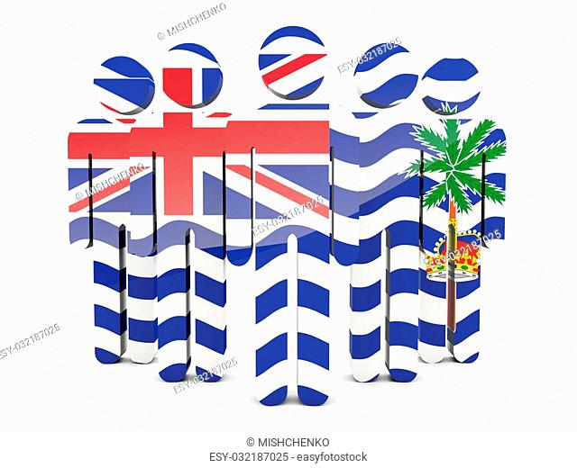 People with flag of british indian ocean territory isolated on white