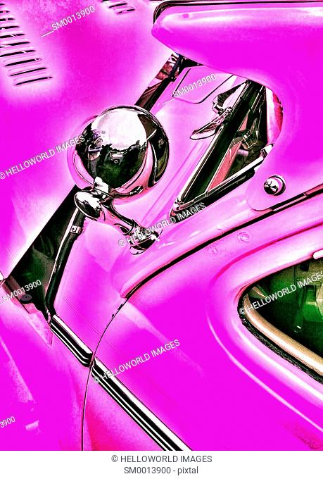 Pink American 1940's classic vintage car chrome and paintwork
