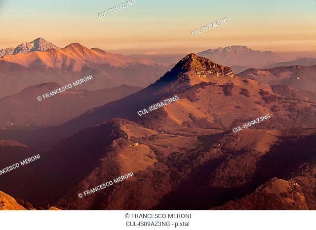 Elevated view of mountains at dusk, Monte Generoso,Ticino, Switzerland