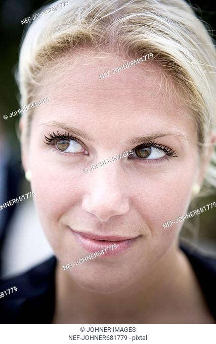 Portrait of a blond, young woman, Sweden