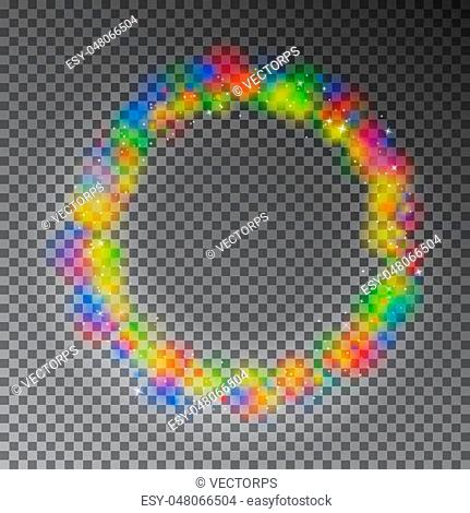 Vector colorful color magic circle. Glowing rainbow ring effect with sparkle. Glitter sparkle swirl trail effect on black background