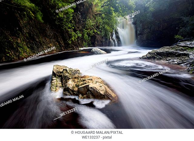 Landscape photo of a waterfall in a forest scene. Harold Porter Botanical Garden, Bettys Bay, Western Cape, South Africa