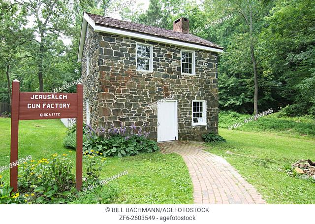 Jerusalem Mill Village Maryland old colonial town gun factory stone 1772 historical tourists