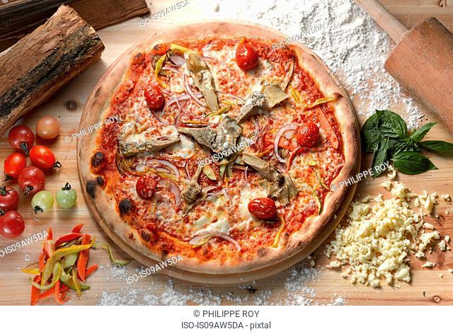 Overhead view of artichoke pizza