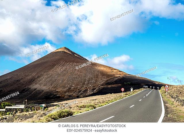 Road in the region of the Geria in Lanzarote, Canary Islands, Spain