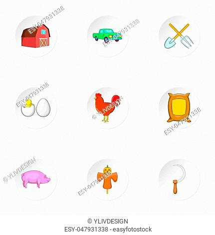 Agriculture icons set. Cartoon illustration of 9 agriculture icons for web