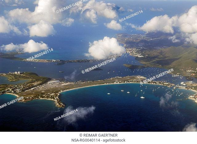 Aerial view of the Simpson Bay Lagoon and Marigot in St Martin