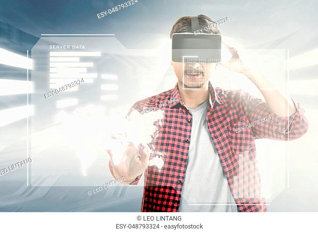 Asian man touching world map on digital interface with virtual reality device display the world map, graphic bar and binary code