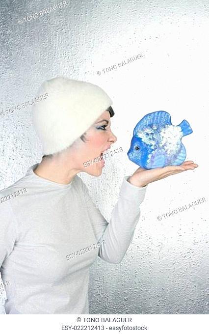 angry futuristic fashion woman shout to blue fish