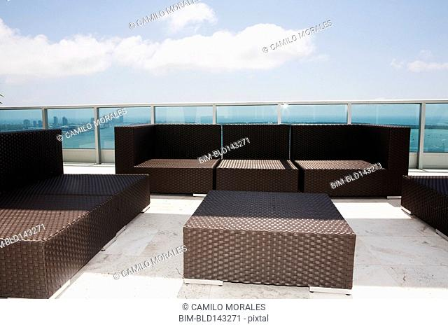 Sofas and coffee table on modern patio