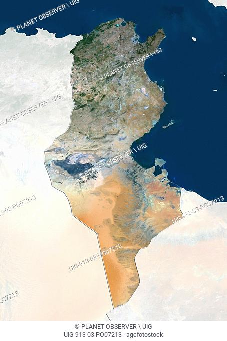 Satellite view of Tunisia (with country boundaries and mask). This image was compiled from data acquired by Landsat 8 satellite in 2014