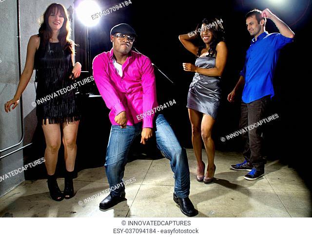cool people dancing in a nightclub or bar lounge
