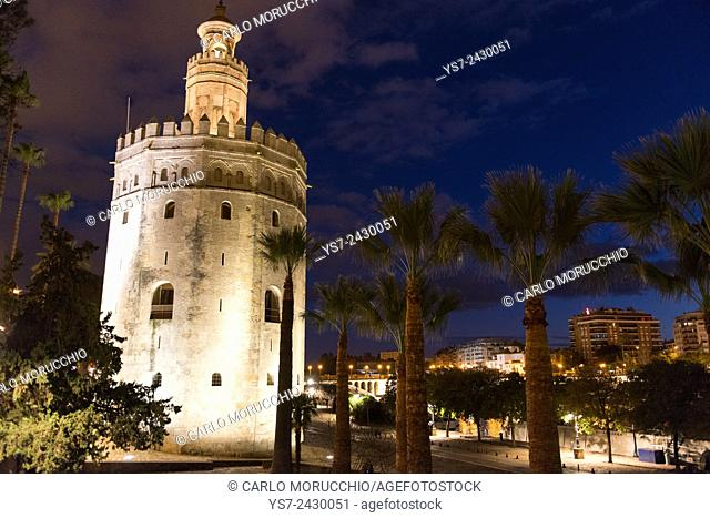 Torre del Oro, Gold Tower, Museo Naval, Sevilla, Andalusia, Spain