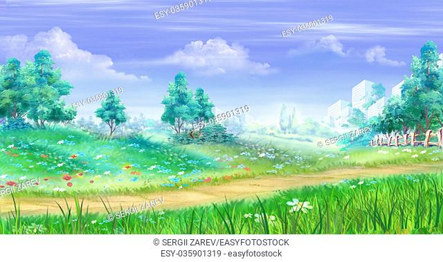 Digital Painting, Illustration of Rural landscape with flowers and grass around a path. Cartoon Style Artwork Scene, Story Background