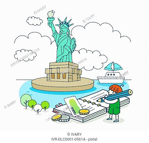 Illustration of a statue of liberty with a girl writing in book
