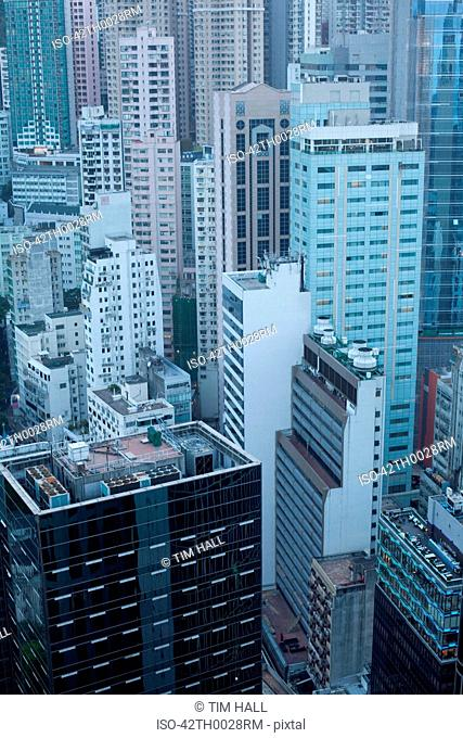 Aerial view of urban skyscrapers