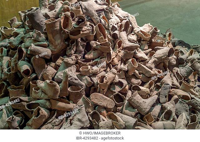 Heap of shoes in the museum Yad Vashem memorial, Jerusalem, Israel