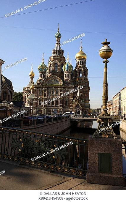 Russia, St Petersburg, Church of the Resurrection Church on Spilled Blood, Griboedov Canal