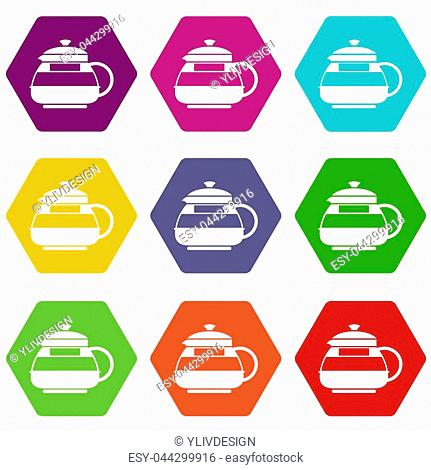 Glass teapot icon set many color hexahedron isolated on white illustration
