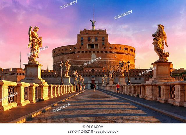 Saint Angel castle and bridge at sunrise Rome, Italy