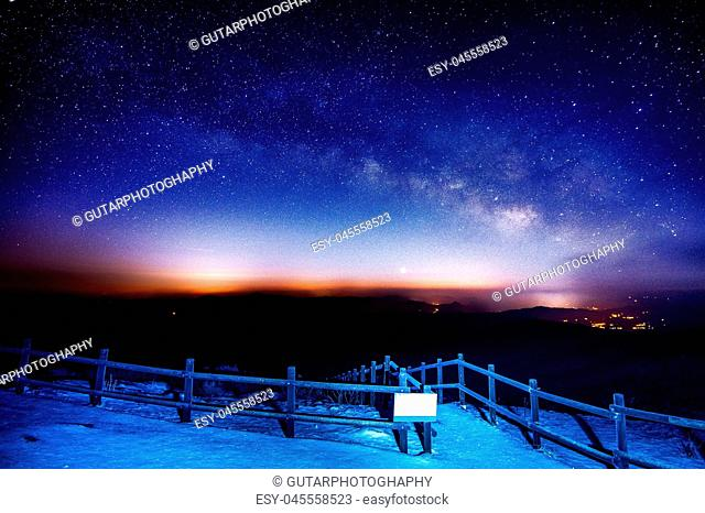 Milky Way Galaxy over Mountain at Night, Deogyusan mountain in S