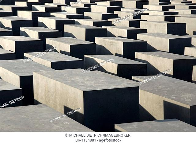 Cement squares, steles of the Holocaust Memorial, Mitte district, Berlin, Germany, Europe