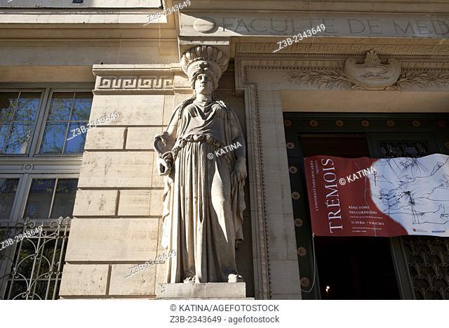 Door at the School of Medicine, University René Descartes, Boulevard Saint Germain, Paris, France