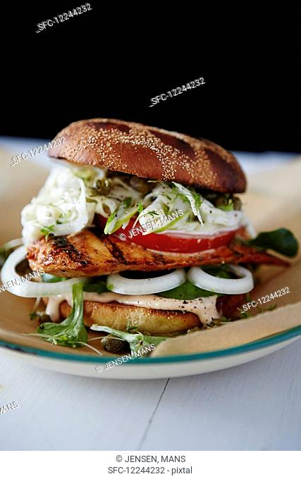 Chicken burger with fennel slaw and chilli mayo