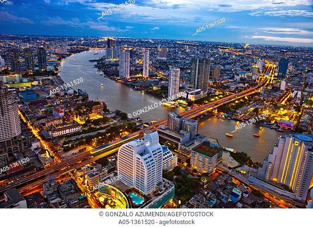 City Skyline and Chao Phraya River  Bangkok  Thailand