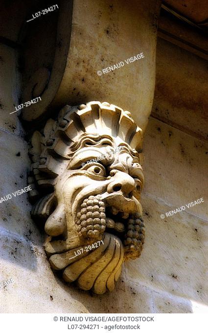 Statue detail of the Pont Neuf. Paris. France