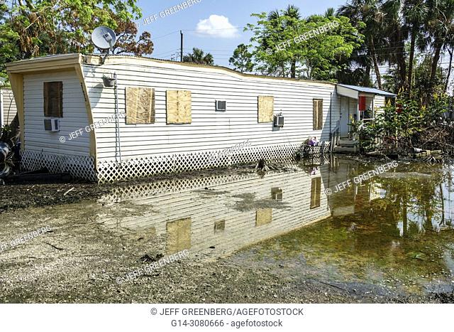 Florida, Bonita Springs, after Hurricane Irma storm water damage destruction aftermath, flooding, mobile park trailer home