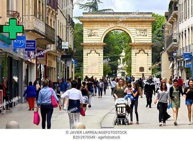 Rue de la Liberté. Place Darcy, Porte Guillaume, Dijon, Côte d'Or, Burgundy Region, Bourgogne, France, Europe