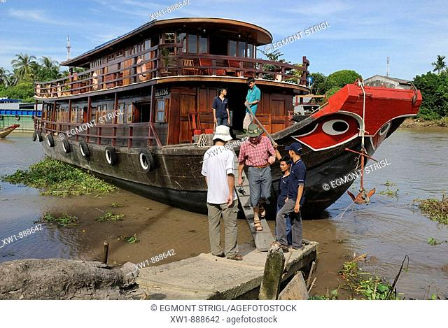 wooden tourist boat on the Mekong river, Vietnam, Asia