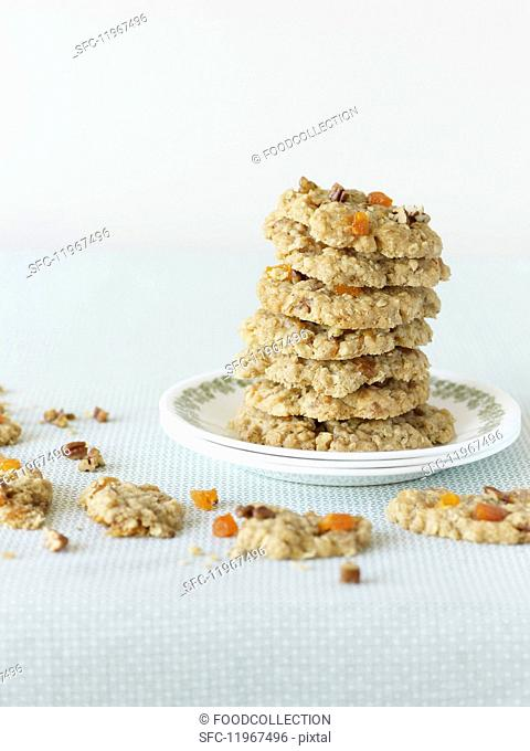 A stack of dried fruit cookies