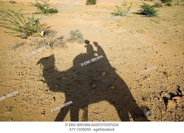 A shadow of a rider and captain upon a camel  Just outside Jaisalmer, India