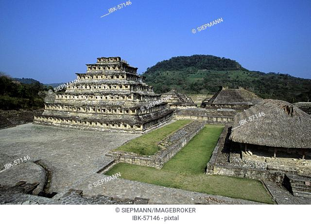 Niches Pyramid at the old city of El Tajin Veracruz state Mexico
