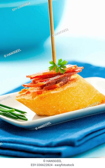 Spanish montadito tapa with serrano ham