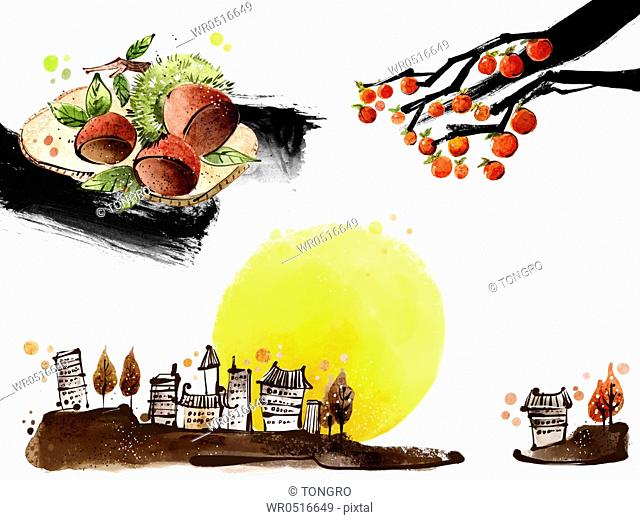 The image of fruits, town, and full moon in the fall