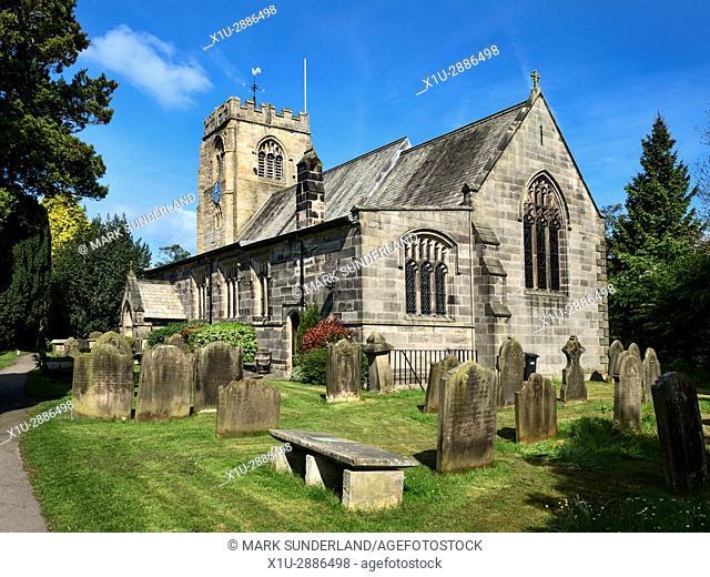 St Thomas a Becket Parish Church and Graveyard at Hampsthwaite, North Yorkshire, England