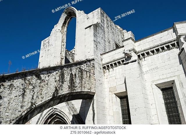 Ruins of the Convento do Carmo (Carmo Convent), damaged in the earthquake of 1755. Lisbon, Portugal, Europe
