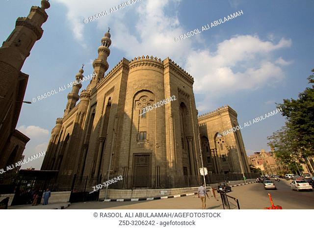 Cairo, Egypt – November 7, 2018 : photo for Mosque of Sultan Hassan in Cairo city capital of Egypt, and showing A mosque built in the style of the Fatimid...