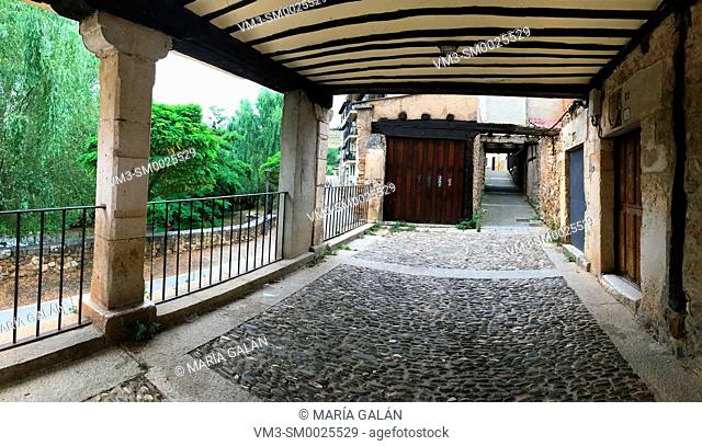 Street and passage, panoramic image. Covarrubias, Burgos province, Castilla Leon, Spain