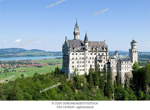 Scenic Schloss Neuschwanstein castle, Hohenschwangau, Bavaria, Germany