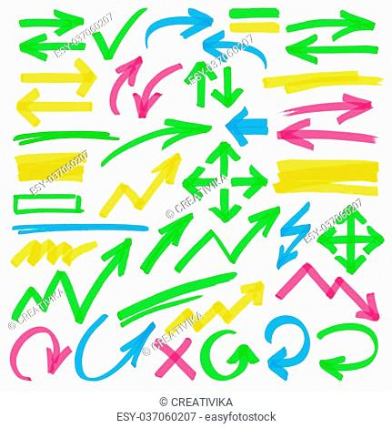 Set of hand drawn colorful highlighter arrows, pointers, arrowheads and marks. Can be used for text highlighting, marking or coloring in your graphics