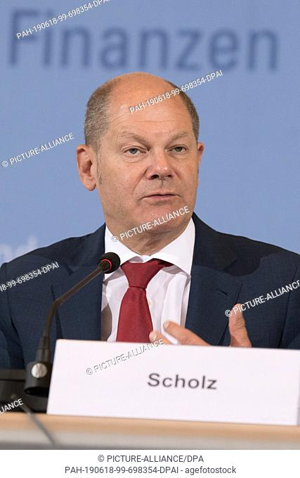 18 June 2019, Berlin: Olaf Scholz (SPD), Federal Minister of Finance, gives a press conference on the occasion of the 19th meeting of the Stability Council