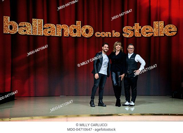 Televisioin host Milly Carlucci, musician Paolo Belli and singer Valerio Scanu at the press conference of the RAI TV show Ballando con le stelle in Auditorium...