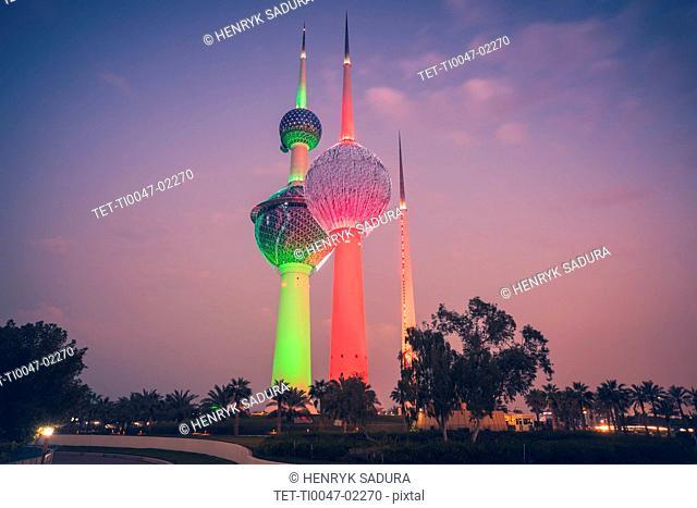Lit Kuwait Towers in Kuwait City, Kuwait