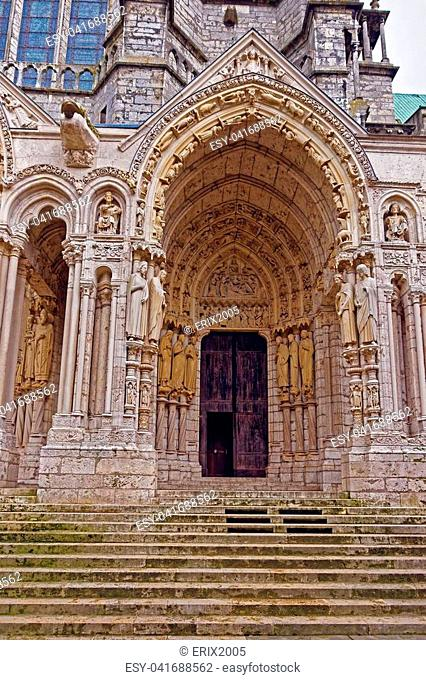 Portal of Cathedral of Our Lady of Chartres in Chartres in Eure et Loir department of Loire Valley in France